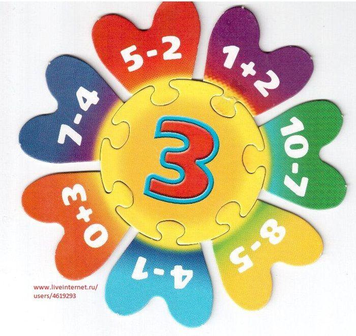 Puzzel met plus- en minsommen omtrent het getal 3.