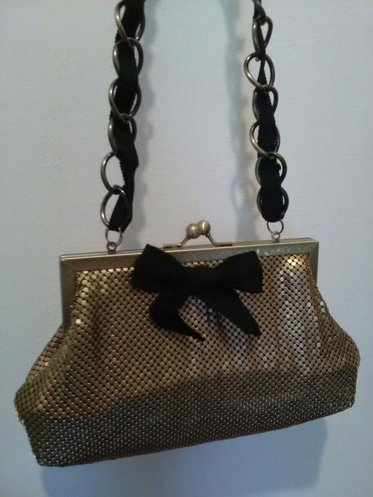 ZU Brand gold Mesh classic kiss lock clutch with black ribbon bow and long chain strap