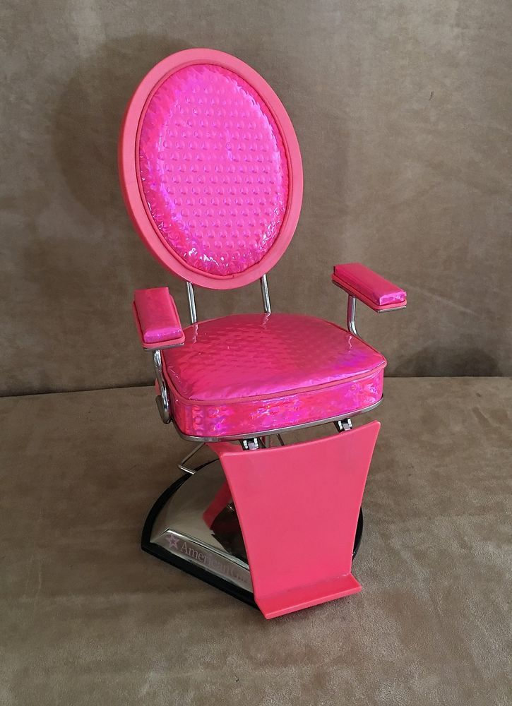 American Girl Doll Pink styling salon chair retired hot pink furniture today #AmericanGirl #HousesFurniture