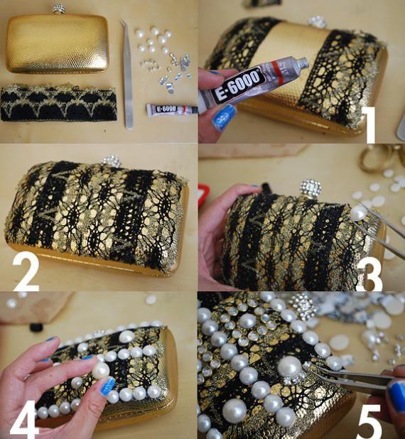 hacer un bolso caja de fiesta decorado con piedras more carteras de