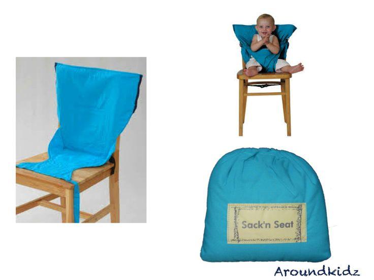 Sack and Seat het zakje dat iedere stoel om tovert tot een kinderstoeltje   Altijd en overal je eigen kinderstoel bij de hand. Veranderd iedere standaard stoel in een veilige en comfortabele kinderstoel.  Sack and seat opvouwbare kinderstoel.