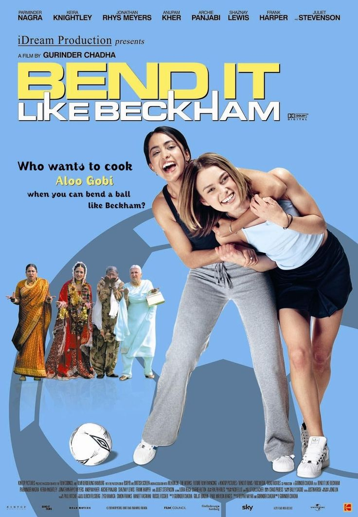 Bend It Like Beckham (2002) PG 13 - Director: Gurinder Chadha - Writers: Gurinder Chadha, Guljit Bindra, Paul Mayeda Berges - Stars: Parminder Nagra, Keira Knightley, Jonathan Rhys Meyers - The daughter of orthodox Sikh rebels against her parents' traditionalism by running off to Germany with a football team (soccer in America). - COMEDY / DRAMA / ROMANCE