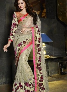 Cream Velvet Brasso & Art Silk Party Wear Sarees. Saree crafted with velvet brasso and zari embroidered lase patch border. Blouse material pink color embroidered art silk with velvet brasso sleeve.