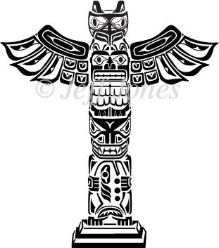 Totem Pole Coloring Pages | Totem Poles Eskimos Vector Art Illustration