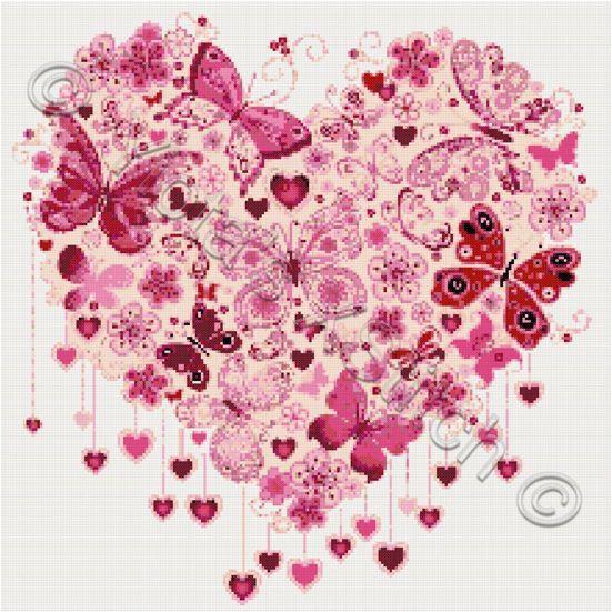 Butterfly Heart Cross Stitch