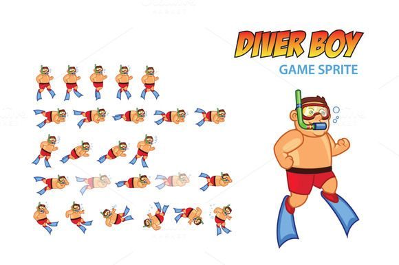 Diver Boy Game Sprite by Gagu on Creative Market