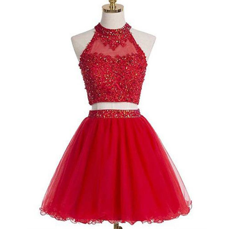 Blush red two pieces halter off shoulder cute freshman homecoming prom dress The red two pieces cute halter homecoming dresses are fully lined, 8 bones in the bodice, chest pad in the bust, lace up ba
