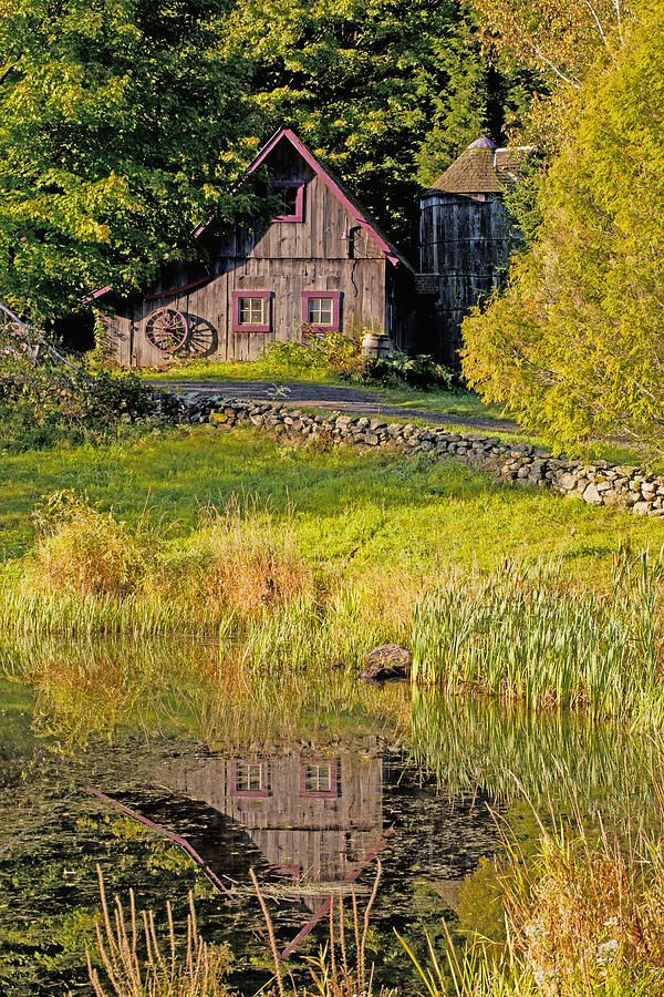 An Old Barn Reflected In The Pond Water Photograph by David Chapman - An Old Barn Reflected In The Pond Water Fine Art Prints and Posters for Sale