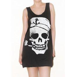 Skull Sailor Halloween Shirt Tank Top Rock Punk Size M