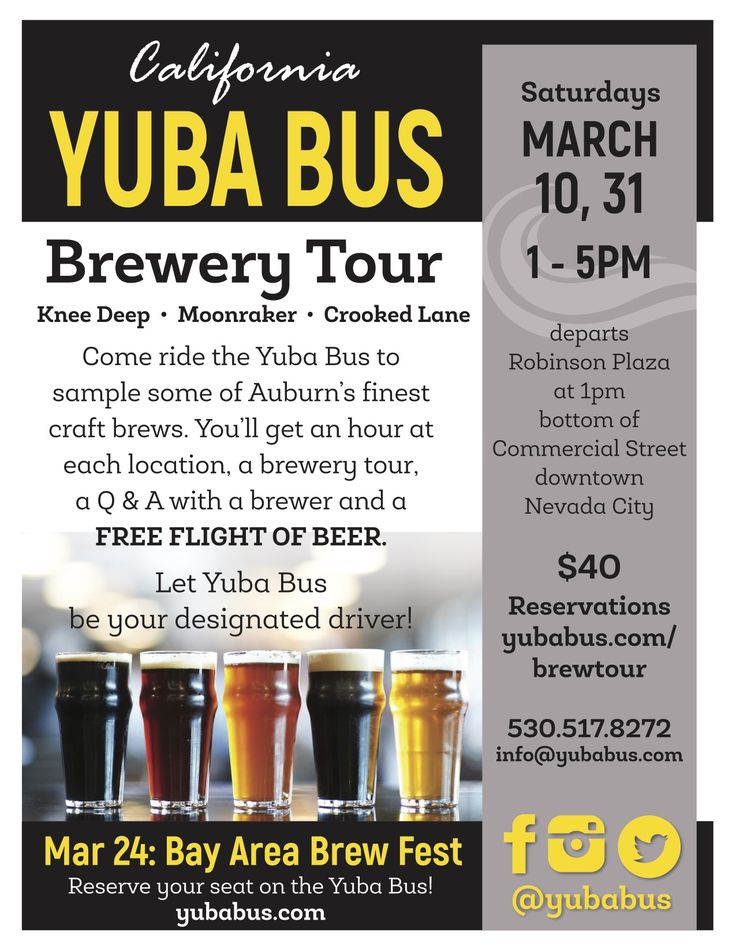 Yuba Bus Brewery Tours, Knee Deep, Moonraker, Crooked Lane, March 10th and 31st, 1-5pm