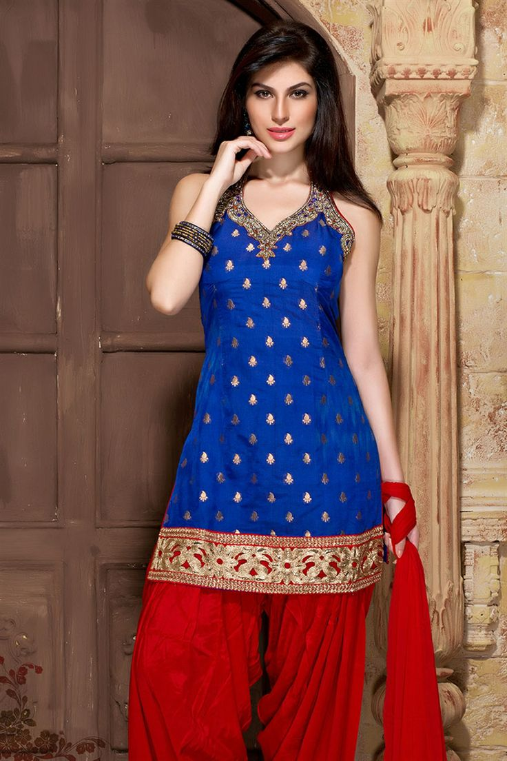 Beautiful red & blue patiala salwar suit