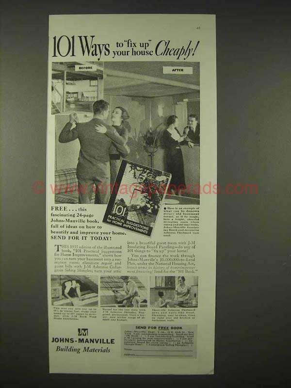 Bh0916 1935 Johns Manville Insulation Asbestos Ad Fix Up Manville Insulation Ads