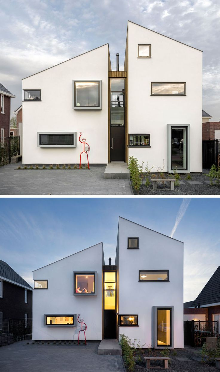 This home, located in Roosendaal in The Netherlands, has been designed as a deconstruction of a traditional Dutch house silhouette, with several floors for living and a few interesting features like a protruding window seat and a hanging fireplace.