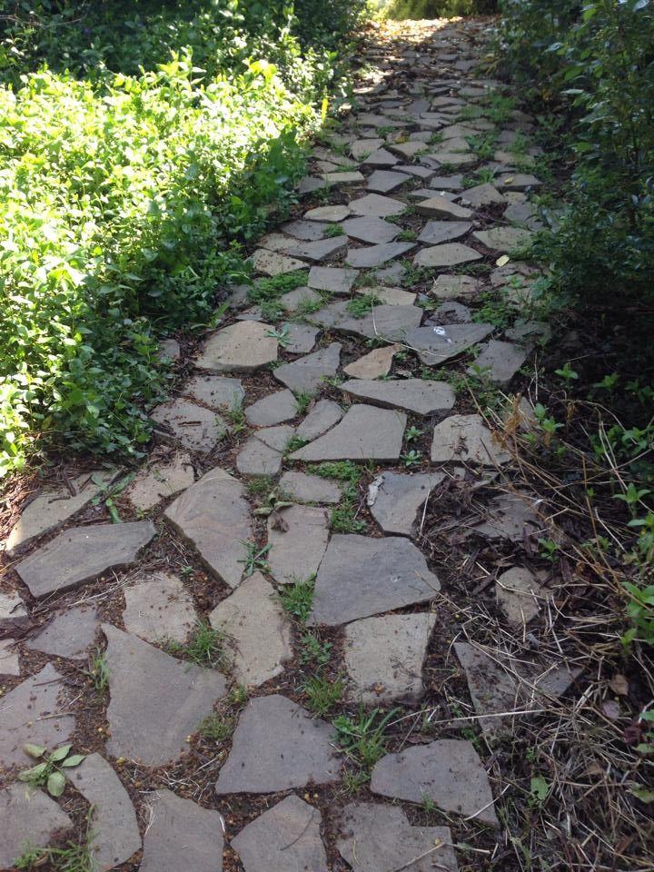 Sendero del jard n de mi casa con piedras lajas ideas for Piedras para patios exteriores