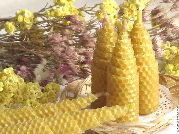 Купить Свечи из натуральной вощины фигурные, катаные, восковые, сувенирные - желтый, сиреневый