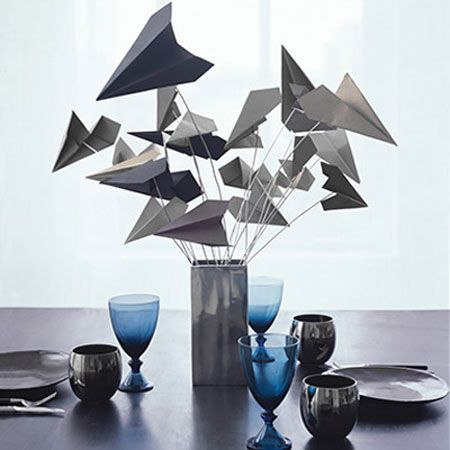 simple but stunning centerpiece - paper airplanes