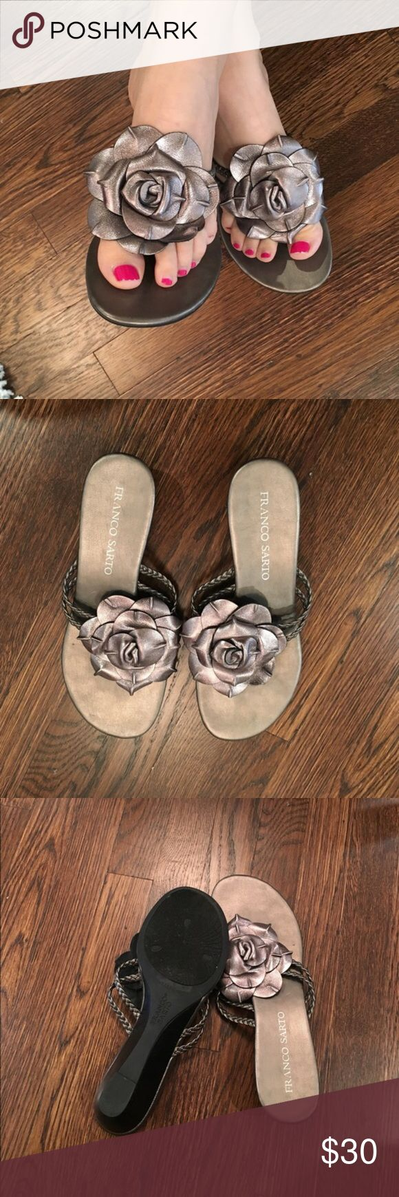 Franco Sarto mini wedges Adorable pewter kitten wedges. Barely worn. Size 7 M. Franco Sarto Shoes Sandals