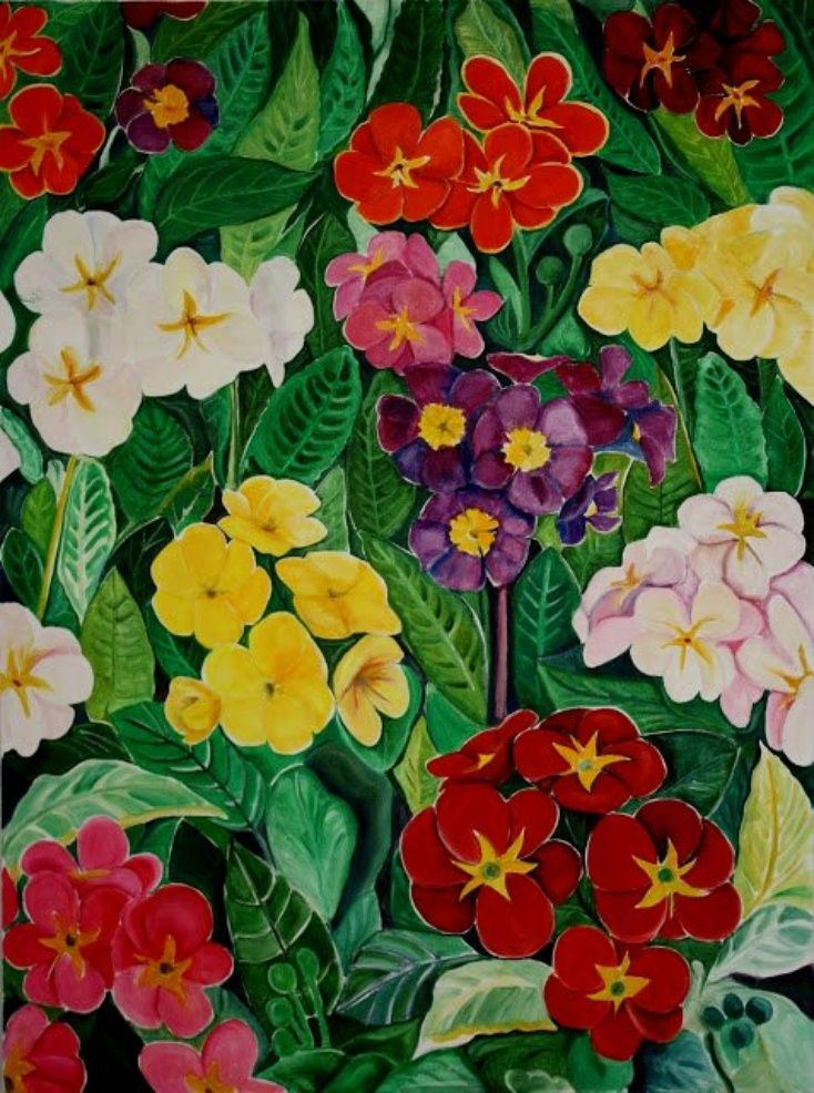 """ARTFINDER: PRIME ROSES, oil on big canvas 40"""" x 30"""" by Lea Goldman - A bright and decorative big, 40"""" x 30"""" oil and acrylic painting. It is painted on gallery stretched sturdy canvas stapled on the back, wire attached, ready t..."""