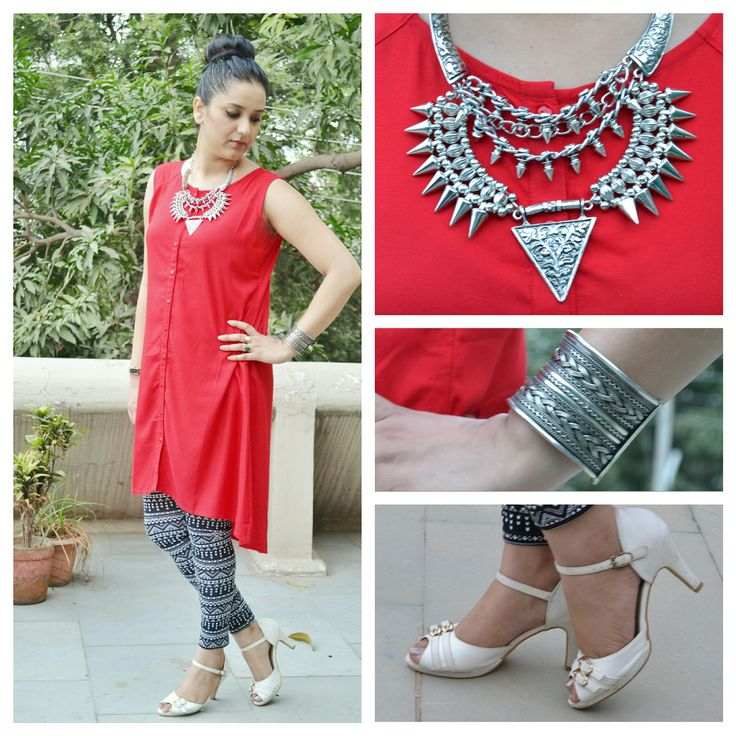 Printed leggings and solid red tunic look.Look super chic and stylish in printed leggings.Indian western wear trends. Read for more.