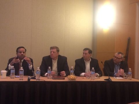 Yogendra Goyal, SVP, WNS holds forth at the panel discussion with other key business leaders at The IAOP 2015 Outsourcing World Summit