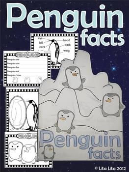 Penguins Facts Fold and Learn with some extra worksheets for centers English-Spanish $