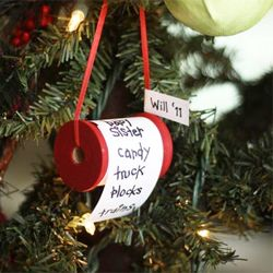 How to make a Christmas wish list ornament on a spool. Make one for each kid for each year of what they wished for for Christmas that year.