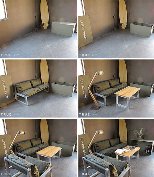 What If Your Whole Living Room Could Fit Into A Tiny Container That S The Idea Behind The Collapsible Room Tiny House Furniture Portable Furniture Furniture