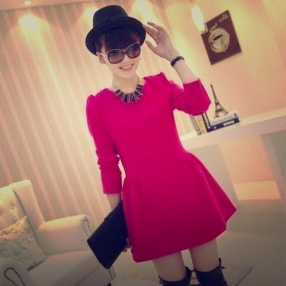 Korean Fashion Hot pink winter dress in size M brand New with tag!!!  Size : M . Dresses Long Sleeve