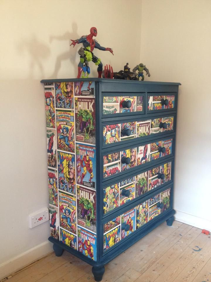 Marvel wallpaper used to decoupage a dresser or chest of drawers.