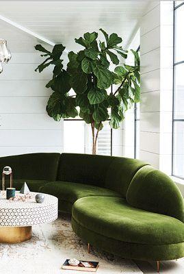 green velvet sofa, white & brass, what's not to love?