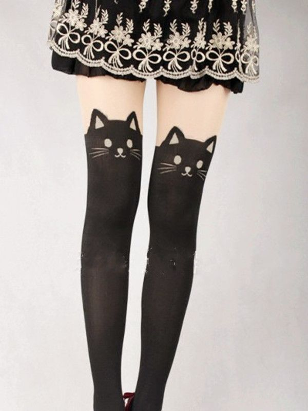 Japanese Kawaii cat tattoo tights #asianicandy
