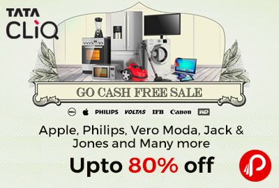 TataCliq #GoCashFreeSale and offering Upto 80% off on Apple, Philips, Vero Moda, Jack & Jones and Many more Products. Additional Discounts on Finest Electronics  Women Fashion Trends at upto 80% off  Men Winter Trends at upto 80% off  Additional Discounts on Fashion and Electronics  http://www.paisebachaoindia.com/apple-philips-vero-moda-jack-jones-and-many-more-upto-80-off-tatacliq/