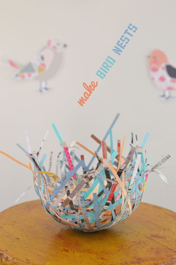 Awesome spring craft for preschoolers. Bird nests from shredded paper. {Art Bar}