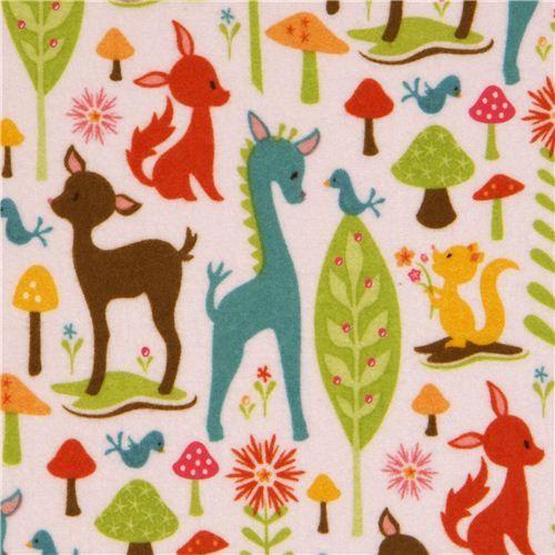 animal flannel fabric deer squirrel Riley Blake USA