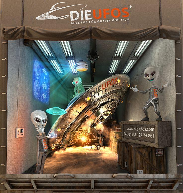DIE UFOS auf großer Fahrt - Unsere eigene LKW-Plane, designed und entwickelt für LKW-Kastenwagen, welche durch ganz Deutschland touren.