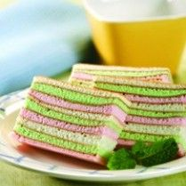 Egg white layer cake, Indonesian called pepe panggang. It's a traditional cake. Just like rainbow cake, right ? It's my fav cake !