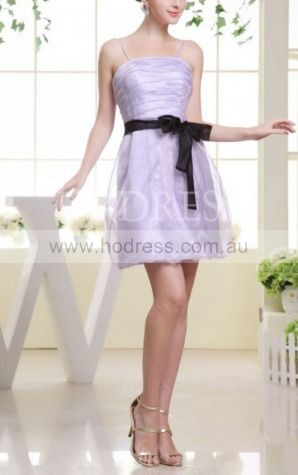 A-line Spaghetti Straps Short Organza Natural Party Dresses gt3468--Hodress