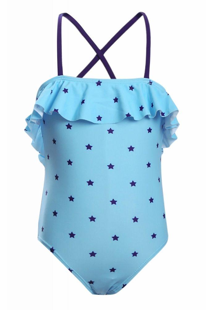 b5fc85d1c9326c US$ 4.58-Little Stars Print Turquoise Little Girls Maillot Dropshipping