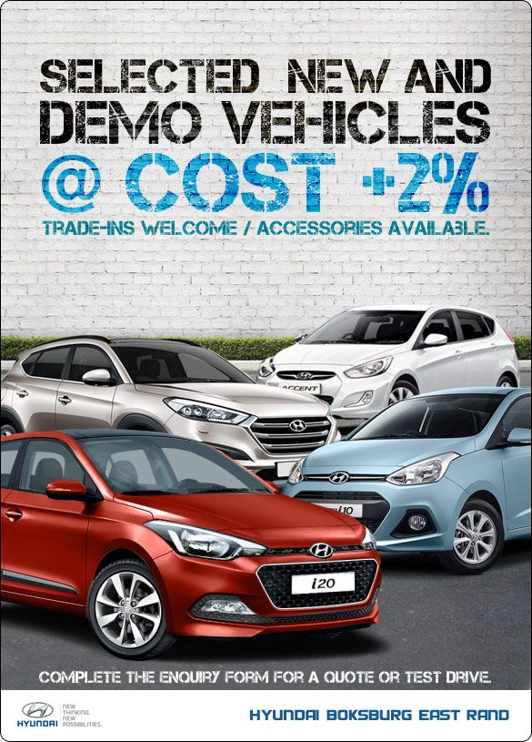 Hyundai New and Demo vehicles at only Cost +2%