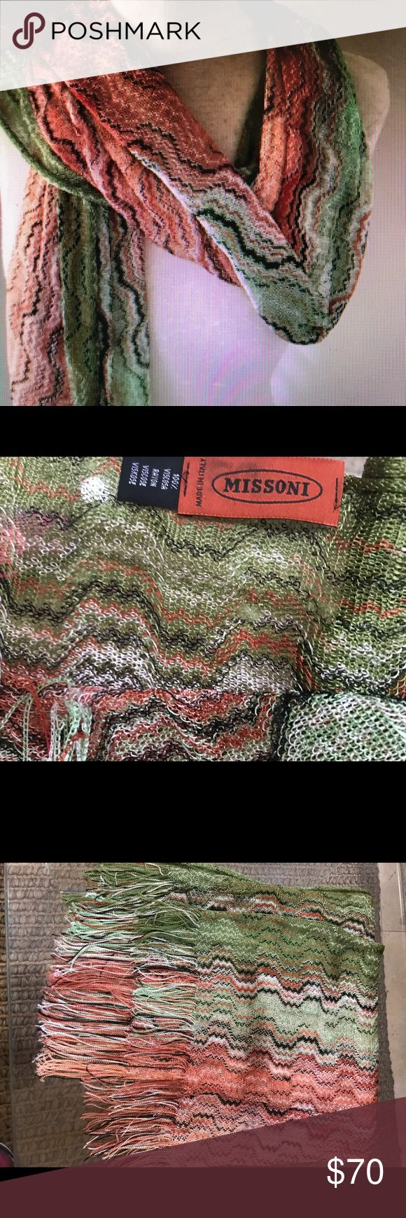 """Mission Scarf Missoni Multi color zig zag scarf. Made in Italy signature classic zigzag scarf. Can be worn as a scarf or a wrap. Scarf measures 82"""" x 30"""". Has a few snags. Like new, Gently worn. Missoni Accessories Scarves & Wraps"""