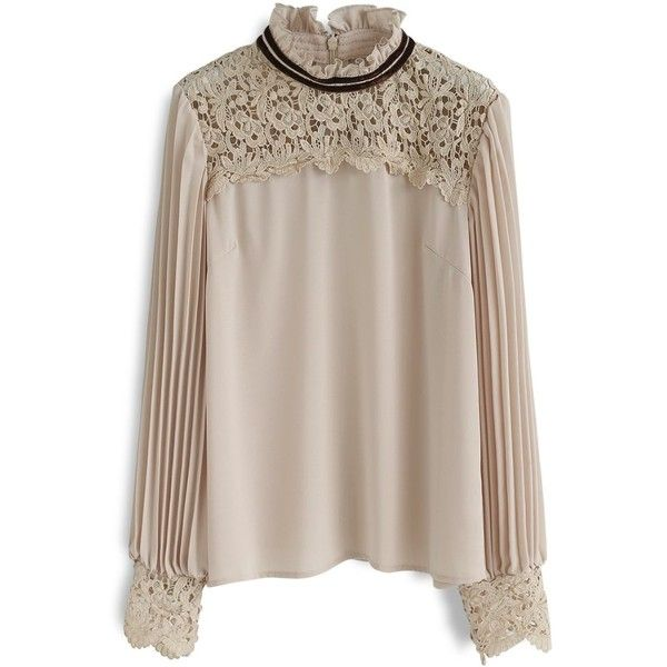 Chicwish Royal Elegance  Crochet Chiffon Smock Top in Light Tan ($45) ❤ liked on Polyvore featuring tops, beige, macrame top, tan top, smock top, beige top and beige crochet top