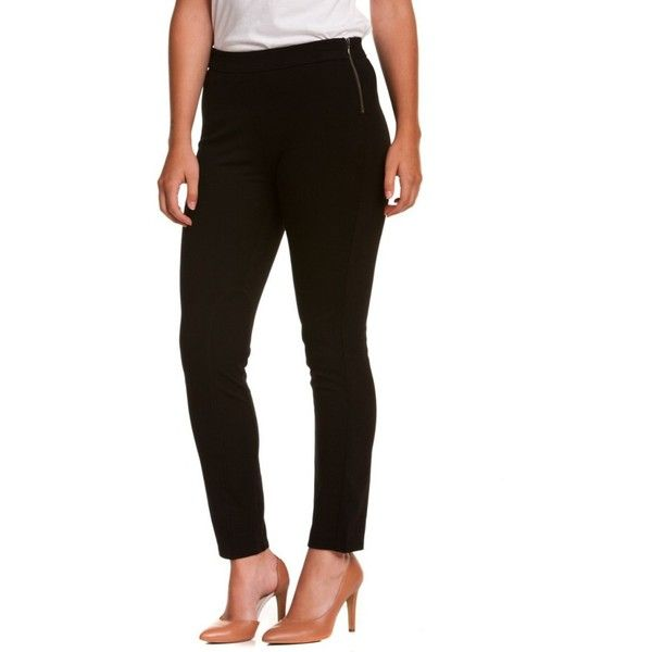 """Nydj Not Your Daughter's Jeans Petite """"""""Jodphur"""""""" Black Leggings ($52) ❤ liked on Polyvore featuring pants, leggings, black, zip pants, legging pants, petite pants, nydj leggings and petite leggings"""