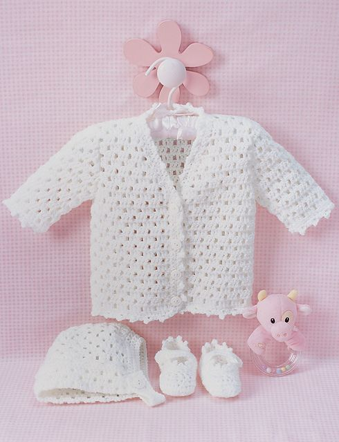 Beautiful set to crochet for baby with matching cardigan, bonnet, and booties. Truly a keepsake crocheted in Bernat Softee Baby. (Bernat.com)