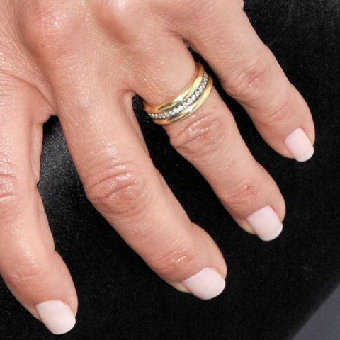 Jennifer Aniston showed off her new wedding ring, designed by Jennifer Meyer Jewelry, at the premiere of She's Funny That Way. #weddingring