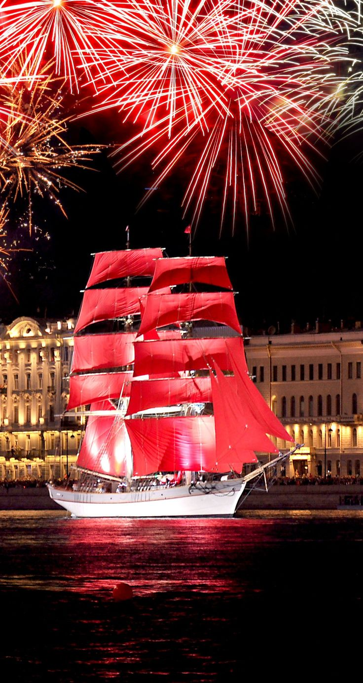 """""""The Scarlet Sails"""" is an annual celebration for school graduates in St. Petersburg, #Russia. It consists of a grand concert on the Palace Square and a light-and-pyrotechnic show on the Neva River. The culmination of the festival is the Standart Frigate floating with the scarlet sails."""