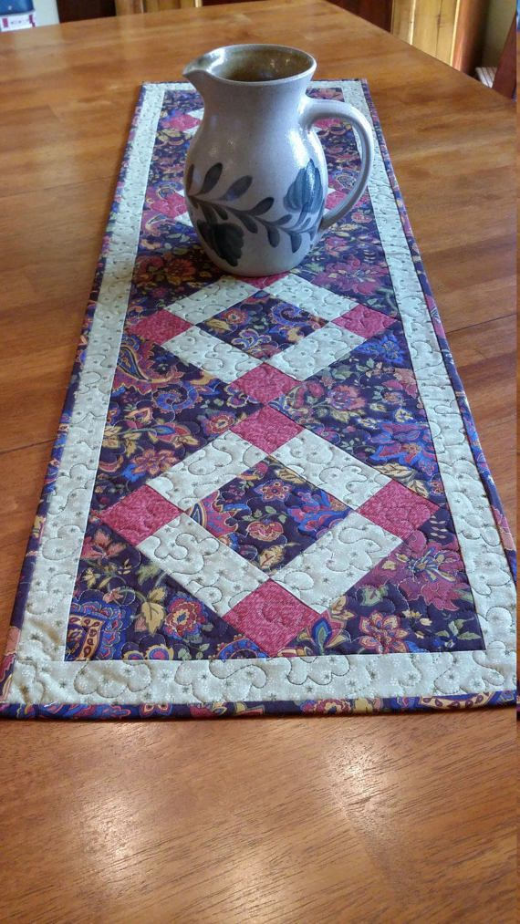Quilted Paisley Table Runner Country Table Runner by djwquilts