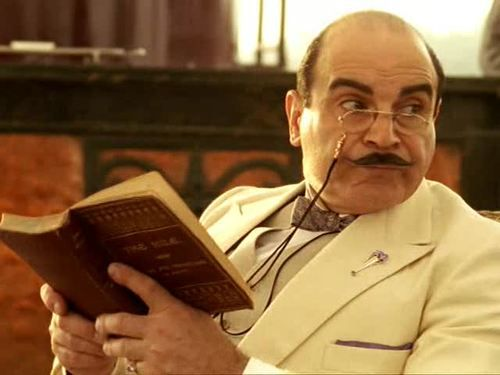 Hercule Poirot reads.   --   A celebration of the ongoing series Agatha Christie's Poirot (1989-2013; IMDb), starring the incomparable David Suchet as M Poirot as well as Hugh Fraser (Captain Hastings), Philip Jackson (Inspector Japp), Pauline Moran (Miss Lemon), and a star-studded guest cast, against a backdrop of beautiful 1930s sets and costumes.
