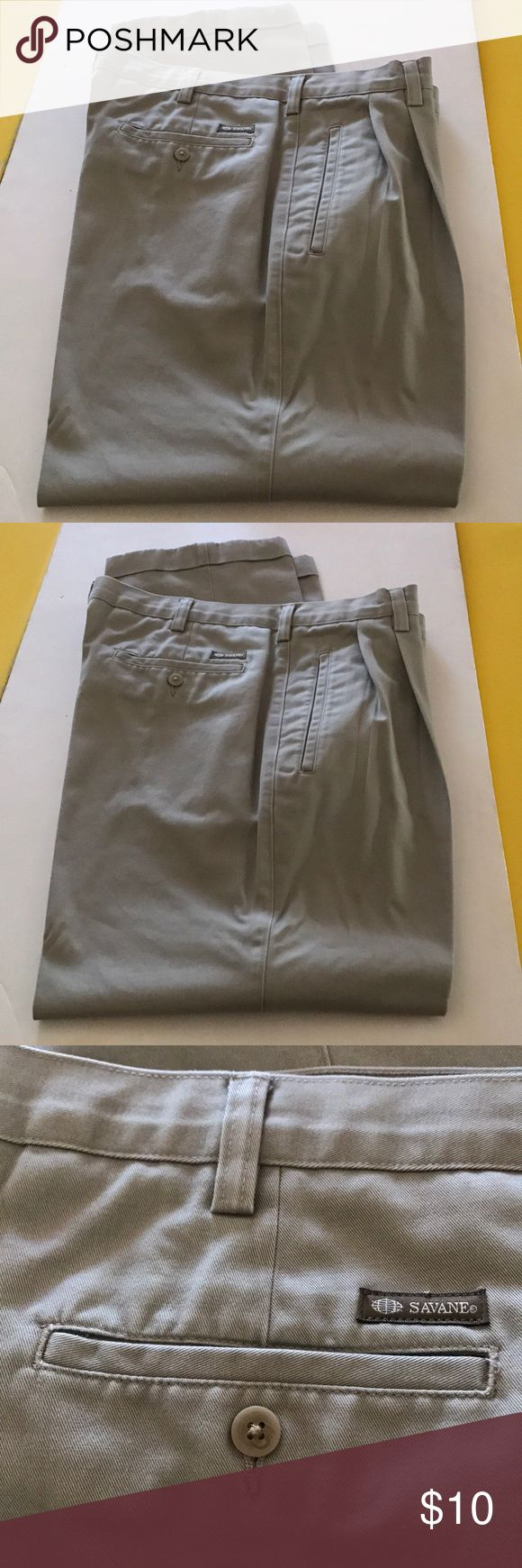 Man's khaki pants 36 x 30 Savane pleated cuffed Man's khaki casual pants. Pleated and cuffed. 36 x 30 size. 100% cotton. Slight fraying on fold of cuff bottoms. Not noticeable if you are not looking for it. Great work pants. Savane Pants Chinos & Khakis