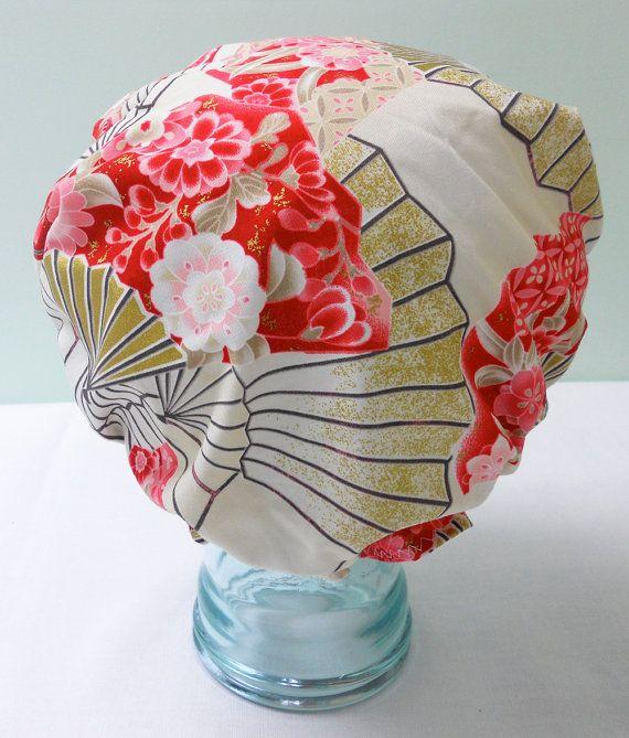 Waterproof Shower Cap  Japanese Geisha Paper by GildedXRoseXStudio