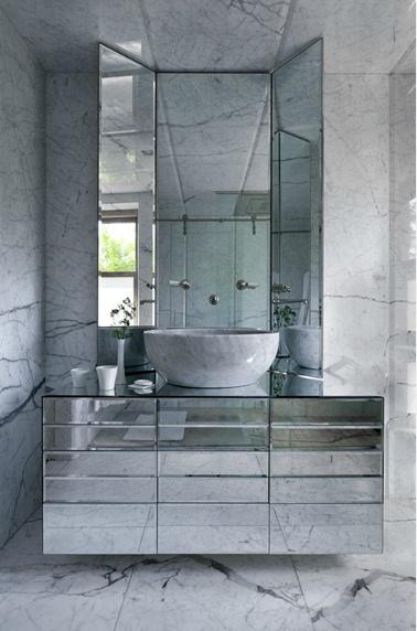 Jorge Varela Marble Floor Walls And Ceiling Beveled Mirror Bathroom Vanity Hinged Ceiling
